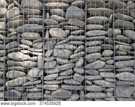 Reinforced Stone Wall With Steel Wire Texture