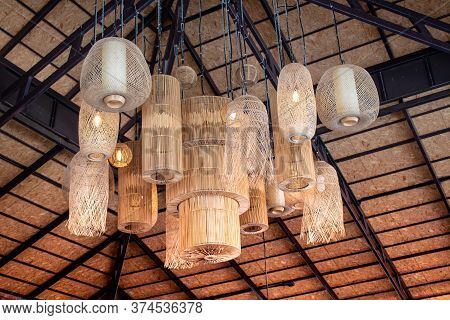 Many Local Ceiling Lamps. Vintage Style Design. Interior Of Hanging Lamp Illuminated, Ceiling Light
