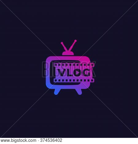 Vlog Logo With Old Tv, Vector, Eps 10 File, Easy To Edit