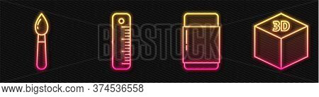 Set Line Eraser Or Rubber, Paint Brush, Ruler And Isometric Cube. Glowing Neon Icon. Vector