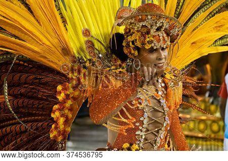 Rio, Brazil - February 22, 2020: Parade Of The Samba School Inocentes De Belford Roxo, At The Marque