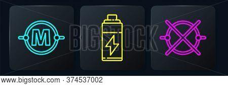 Set Line Electric Circuit Scheme, Electric Circuit Scheme And Battery. Black Square Button. Vector