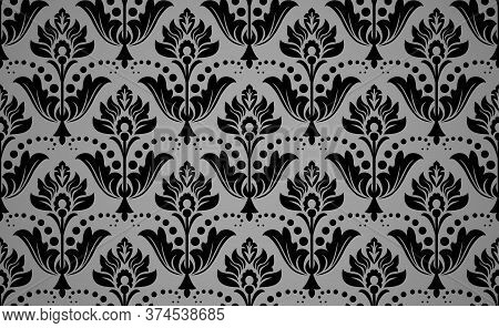 Wallpaper In The Style Of Baroque. Seamless Vector Background. Black Floral Ornament. Graphic Patter