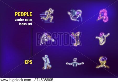 People In Virtual Reality Neon Signs Set. Wearing Vr Glasses, Action, Motion, Gaming, Cyberspace. Ni