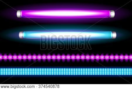 Neon Tube Lamps And Led Strips, Long Luminescence Blue And Purple Light Bulbs For Night Club, Or Bar