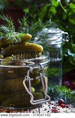 Marinated Gherkins, Spices, Vinegar, Vintage Wooden Background, Selective Focus