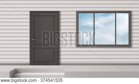 House Facade With Gray Door, Window, Siding Wall And Steps. Vector Realistic Background Of Building