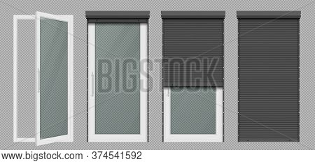 Glass Door Or Tall Window With Rolling Shutter Isolated On Transparent Background. Vector Realistic
