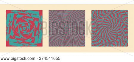 Optical Illusion Vector, Op Graphic Art, Hypnotic Card, Geometric Pattern