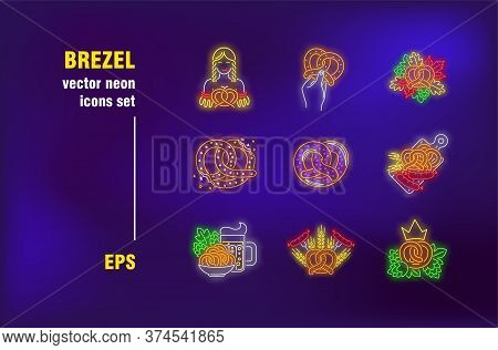 Brezel Collection In Neon Style. Baking, Pretzel And Tradition. Vector Illustrations For Luminous Ba