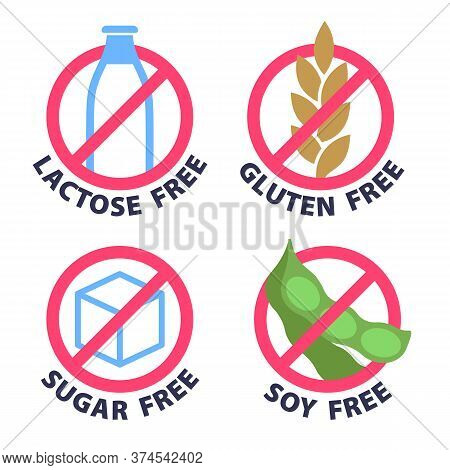 Lactose, Dairy, Sugar, Soy And Gluten Free Products Badges.