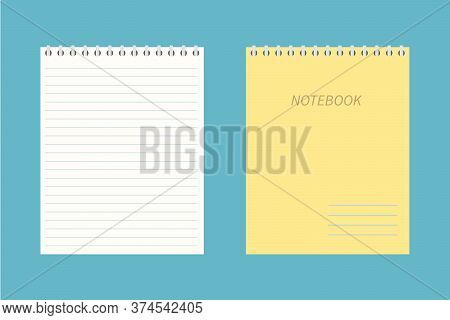 Blank Empty Spiral Yellow Notepad, Notebook. Closed And Open Notebook. Vector Icon In A Flat Style I