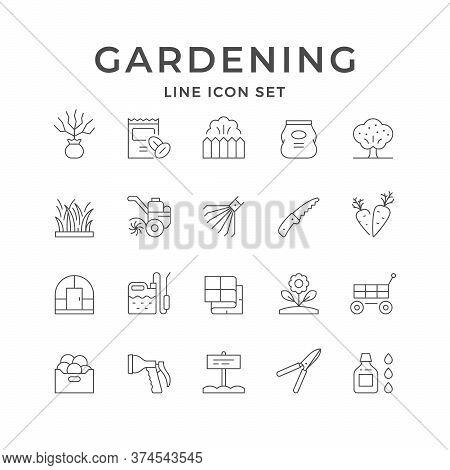 Set Line Icons Of Gardening Isolated On White. Seedling, Greenhouse, Fence, Grass, Tiller, Rake, Fer