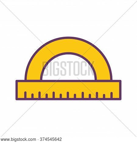 Ruler Line And Fill Style Icon Design, Instrument Tool Work Measurement Lenght Object Inch Long And