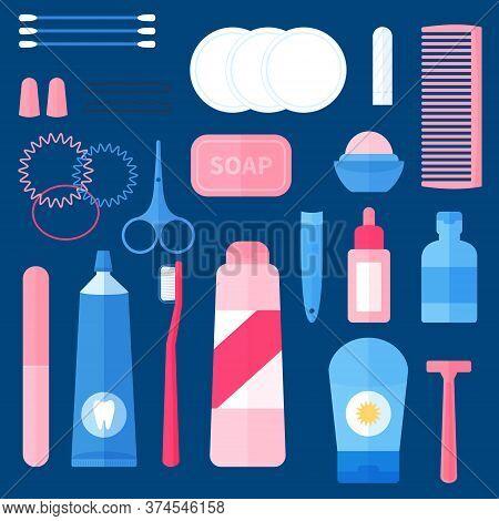 Women Toiletry Kit , Bathroom Essentials For Ladies, Travel Portable Set Of Hygiene Accessories. Con