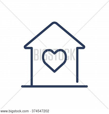 House With Heart Thin Line Icon. Sweet Home, Shelter, Property Isolated Outline Sign. Architecture,