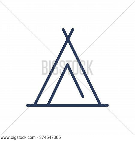 Wigwam Thin Line Icon. Tent, Shelter, Hut Isolated Outline Sign. Camping, Adventure, Outdoor Activit