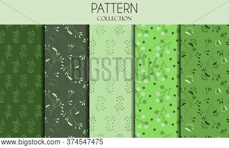 Vector Set Of Seamless Patterns And Abstract Backgrounds With Green Leaves And Flowers - For Organic