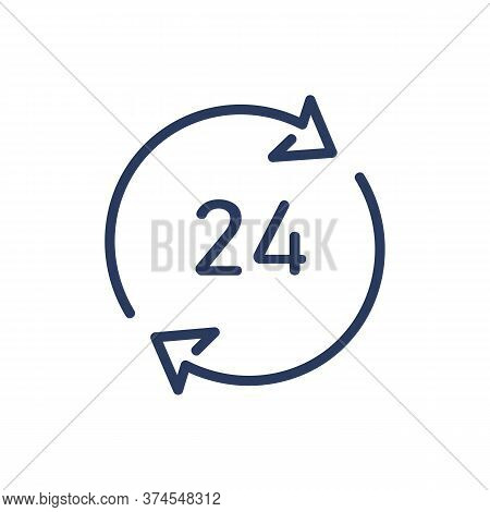 Always Open Thin Line Icon. Cycling Arrows, Around The Clock, Day And Night Isolated Outline Sign. S