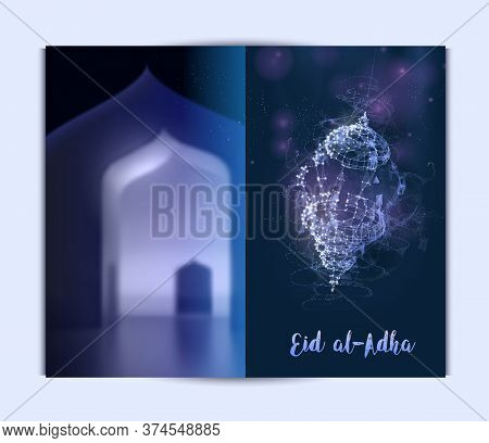 Shining Lamps In The Background Of The Interior. Brochure Template Flyer Background For Islamic Holi