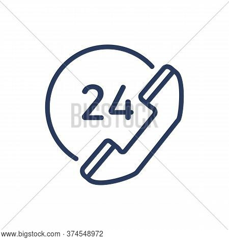 Around The Clock Support Service Thin Line Icon. Day And Night, Always Open, Telephone Isolated Outl