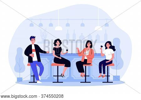 Group Of People Drinking Wine And Beer In Pub. Cheerful Men And Women Sitting At Bar Counter With Wi