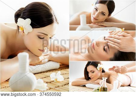 Collection Of Photos With Women Having Different Types Of Massage. Spa, Wellness, Healing, Rejuvenat