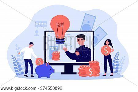 People Saving Cash. Entrepreneurs Finding Investor For Startup. Sponsor Investing Money To Project.