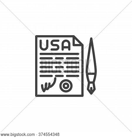 United States Declaration Of Independence Line Icon. Linear Style Sign For Mobile Concept And Web De