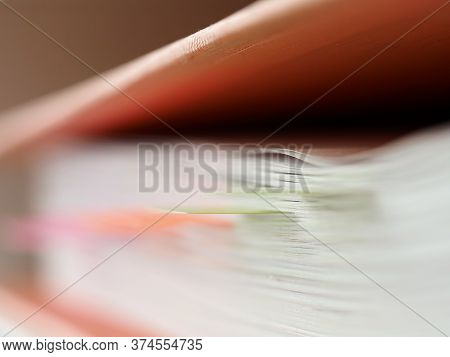 Close-up Of Stack Of Papers With Bookmarks. Business Documents And Monthly Report. Folder With Lists