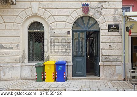 Rovinj, Croatia - October 15, 2014: District Justice Magistrates Courts Government Building In Rovin