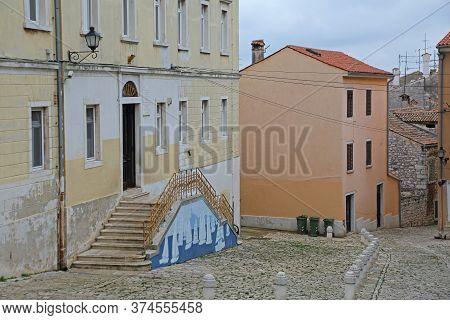 Rovinj, Croatia - October 15, 2014: Entreance To Elementary School Vladimir Nazor Building In Rovinj