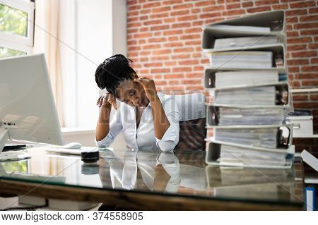 African American Business Woman Tired And Stressed