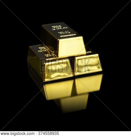 A Stack Of Pure Gold Bullion Bars Over A Black Background.