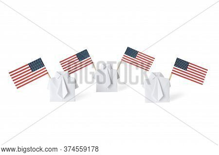 People Waving American Flags Of Toothpicks. Men Figure Holding Usa Banner. Concept Social Movement,