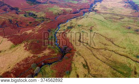 Brecon Beacons National Park In Wales - Aerial View -aerial Photography
