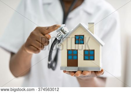 Doctor Homecare Or Home Inspection Using Stethoscope