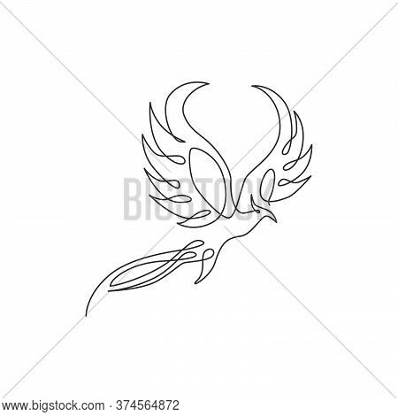 One Continuous Line Drawing Of Elegant Phoenix Bird For Company Logo Identity. Business Icon Concept