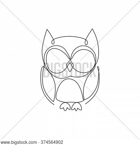 One Continuous Line Drawing Of Cute Owl Bird For Company Logo Identity. Symbol Of Education, Wisdom,
