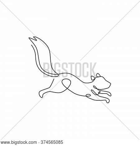 Single Continuous Line Drawing Of Luxury Squirrel For Corporation Logo Identity. Company Icon Concep