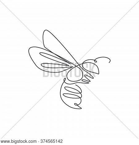 One Single Line Drawing Of Cute Bee For Company Logo Identity. Honeybee Farm Icon Concept From Wasp