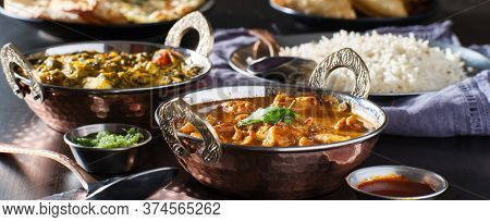 indian chicken tikka masala curry in balti dish