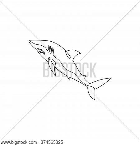 One Continuous Line Drawing Of Shark Sea Fish Predator For Underwater Life Aquarium Logo Identity. W