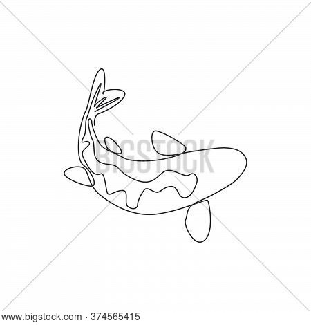 One Continuous Line Drawing Of Elegant Beautiful Koi Fish For Aquarium Farm Logo Identity. Japanese
