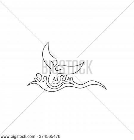 One Single Line Drawing Of Big Whale Fish For Company Logo Identity. Giant Creature Mammal Animal Ma