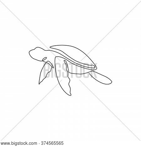 One Single Line Drawing Of Big Turtle For Marine Company Logo Identity. Adorable Creature Reptile An