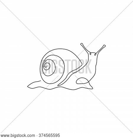 One Single Line Drawing Of Exotic Snail With Spiral Shell Mascot Concept For Organic Food Logo Ident