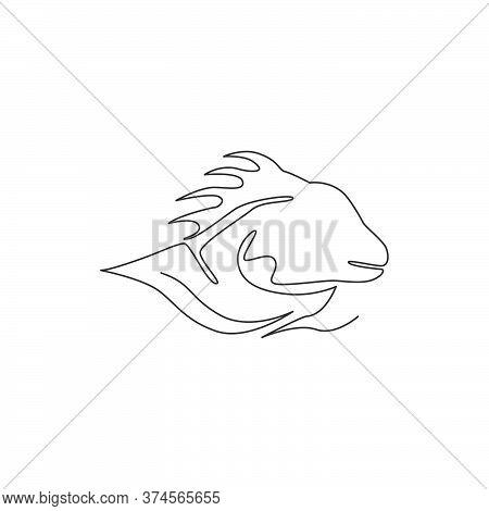 One Single Line Drawing Of Exotic Iguana Head For Company Logo Identity. Cute Reptilian Animal Masco
