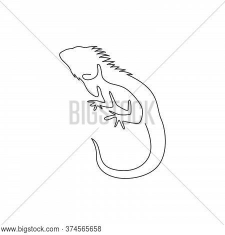 One Single Line Drawing Of Exotic Iguana For Company Logo Identity. Cute Reptilian Animal Mascot Con