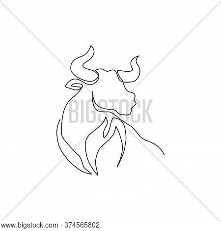 Single Continuous Line Drawing Of Elegance Head Buffalo For Multinational Company Logo Identity. Lux
